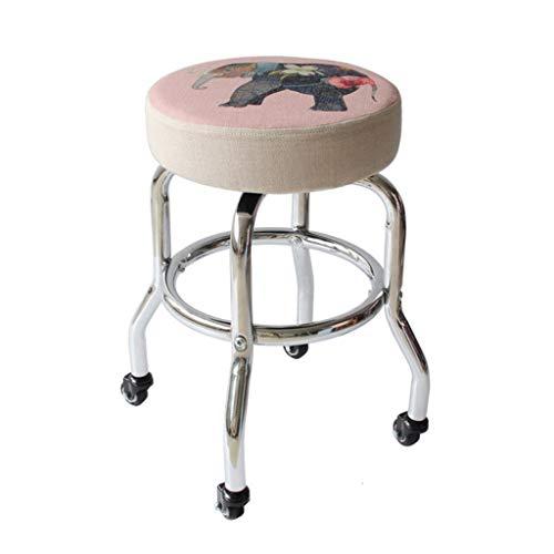 QFdd Rolling Taburete con Cubierta De Tela,GiratorioAsiento De Trabajo,Altura Estándar 48 Cmpara La Belleza Tatuaje Salón