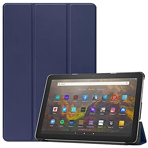 DWaybox Capa para tablet Amazon Kindle Fire HD 10 e HD 10 Plus (11ª geração, lançado em 2021), com função automática de despertar/hibernar, capa protetora fina e leve com suporte em vários ângulos – azul escuro