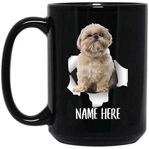 N\A Taza de café Negra con Nombre Personalizado marrón Claro de shih tzu Personalizada Divertida