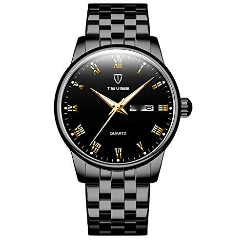 YiLuFanHua Relojes Hombre Acero Inoxidable Cuarzo Cronógrafo Impermeable Relojes Business Casual Deporte Reloj De Pulsera,Negro
