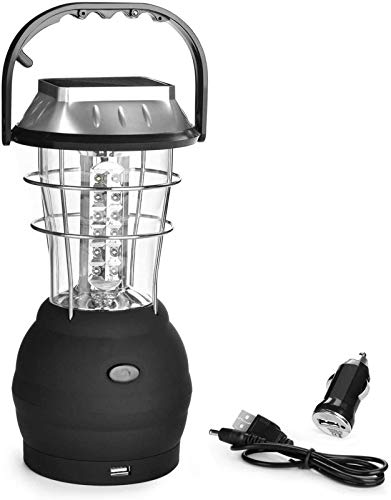 Solar Lantern 5 Mode Hand Crank Dynamo 36 LED Rechargeable Camping Lantern Emergency Light Ultra Bright LED Lantern Car Charge for Hiking Emergencies Hurricane Outages