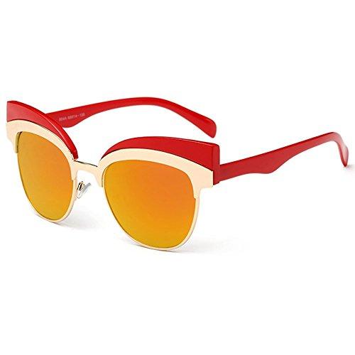 Linyuan 604de las mujeres de ojo de gato Metal diseñador gafas de sol UV400 rosso