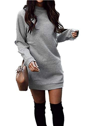 Xuan2Xuan3 Women's Fleece Long Sweatshirt Dress Crewneck Pullover Casual Long Sleeve Bodycon Mini Sweater Dress Gray