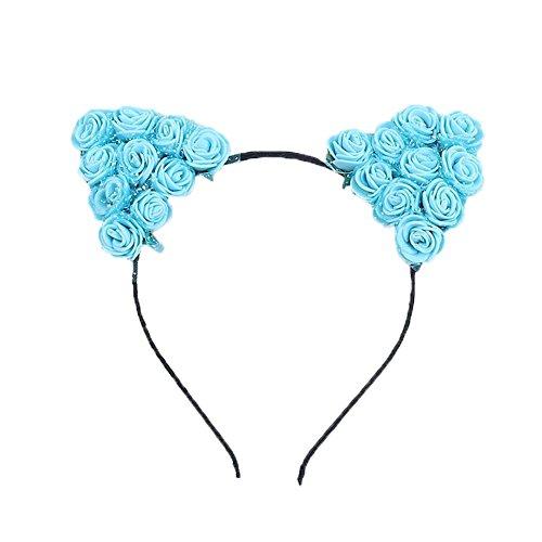 Demarkt 1 Pcs Bande de Cheveux Oreilles de chat Petites fleurs Headband Elastique Extensible Hairband Twisted pour Femmes Filles Enfant Bijoux Mariage Maquillage Fête Décoration (Bleu)