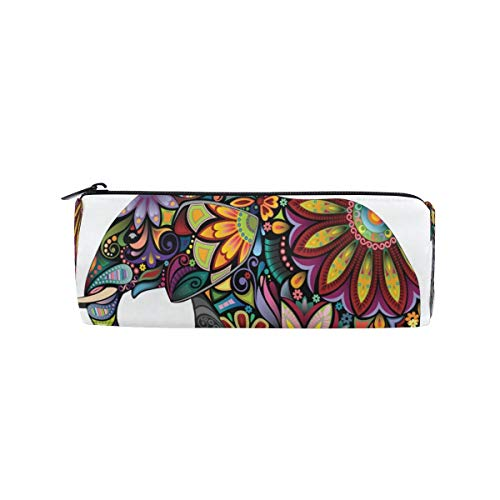 SunsetTrip Pencil Case Indian Elephant Flower Round Pencil Bag Zipper Stationery Pouch Bag Cosmetic Pen Bag for School Teenage Girls Kids Boys Office