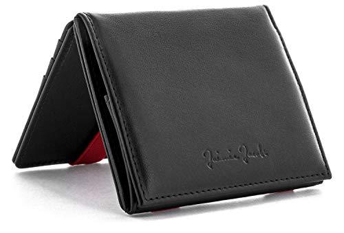 Jaimie Jacobs JAIMIE JACOBS Flap Boy - Das Original - Magic Wallet mit Münzfach und RFID-Schutz Magischer Geldbeutel magisches Portmonaie Brieftasche mit Kleingeldfach Herren echtes Leder (Schwarz mit Rot)