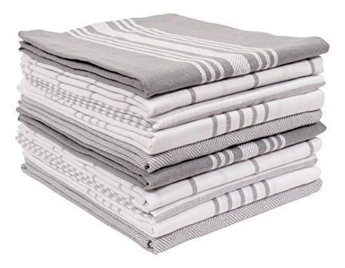 KAF Home Soho Kitchen Dish Towel Set of 10   18 x 28 Inch Tea Towels   Soft and Absorbent Mixed Set of Flat Towels (Gray)