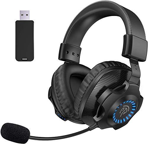 EasySMX Cuffie Gaming per PS4 , Cuffie da Gaming con microfono Bass stereo 2.4G senza fili, Gaming Headset wireless con jack 3.5mm, LED LED e Controllo Volume per PS4/Xbox one/PC/Mac(nero)