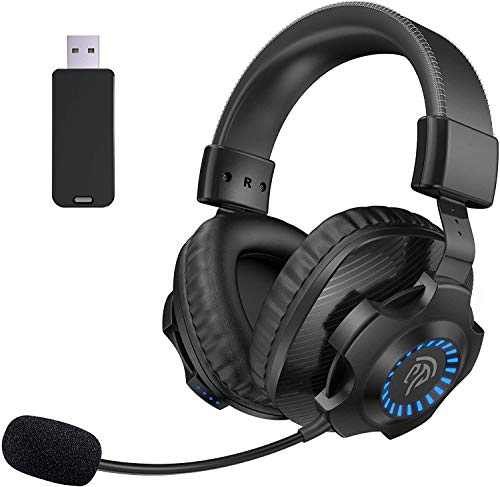 EasySMX Auriculares Gaming Inalámbricos PS4, [Regalos Originlaes] 2.4G Cascos Gaming Inalámbricos Estéreo con Micrófono, Control de Volumen y RGB Luces para PC, Mac y PS4, Headset Gaming Wireless