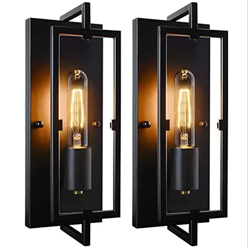Lámpara de pared retro americana industrial, lámpara de montaje de pared rústico de metal negro, iluminación moderna de escono de pared de pared, para sala de estar, pared de TV, cafetería / 2pcs