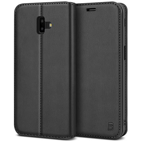 BEZ Handyhülle für Samsung Galaxy J6 Plus Hülle, Tasche Kompatibel für Samsung J6 Plus, Hülle Schutzhüllen aus Klappetui mit Kreditkartenhaltern, Ständer, Magnetverschluss, Schwarz