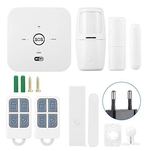 Pangdingk Seguridad para el hogar gsm, Alarma de Seguridad Ajustable con Control(European Standard (100-240v))
