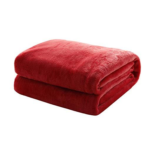 Mixibaby Kuscheldecke Flauschige extra weich und warm Wohndecke Flanell Fleecedecke, Falten widerstandsfähig/Anti-verfärben als Sofadecke oder Bettüberwurf, Maße Decke Sarah:150 cm x 200 cm, Farbe:Weinrot