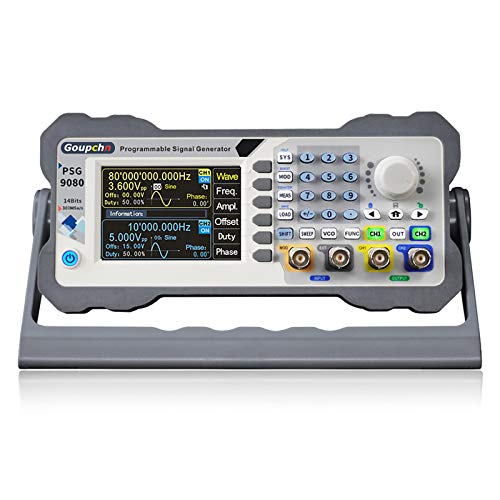 Goupchn Programmable DDS Signal Generator 80MHz Dual Channel Arbitrary Waveform Function Generator Frequency Meter 300MSa/s Counter High Precision 3.5inch Screen