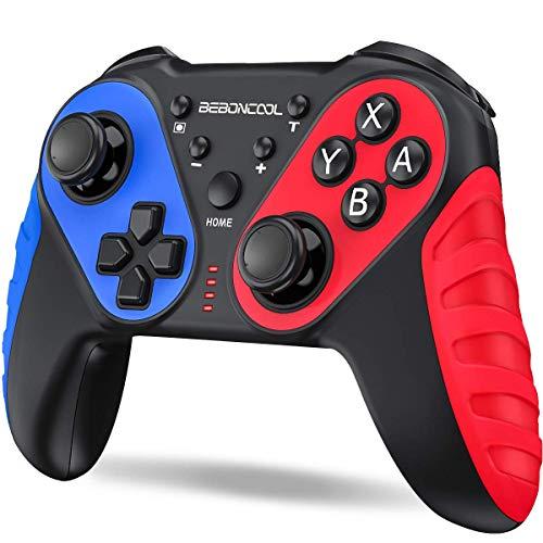 「連射機能搭載」Switch コントローラー BEBONCOOL スイッチ コントローラー プロコン ジャイロセンサー HD振動 デュアルショック ワイヤレス Bluetooth接続 任天堂 Nintendo Switchに対応 ニンテンドー スイッチ プロ コントローラー 小型 (赤)