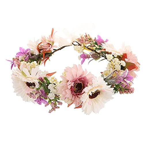 Yililay Flor Coronas Guirnalda Floral de la Margarita del Viento Mar Garland Ajustable Flor del Pelo de la Venda para la Ceremonia de la Boda del Festival del Partido