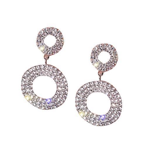Ruby569y Pendientes colgantes para mujeres y niñas, moda doble círculo con incrustaciones de diamantes de imitación para mujer, regalo de joyería de fiesta - plata