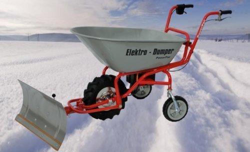 Modell 2021 - NEU SERIENMÄßIG: Mit Rückwärtsgang inkl. Ladestandanzeige - POWERPAC ED120 inkl. Schneeschild - AKKUSCHUBKARRE ELEKTROSCHUBKARRE SCHUBKARRE DUMPER MOTORSCHUBKARRE