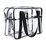 Clear Cosmetics Bag Transparent Tote Bag Thick PVC Zippered Toiletry Carry Pouch Waterproof Makeup Artist Large Bag Diaper Shoulder Bag Beach Bag
