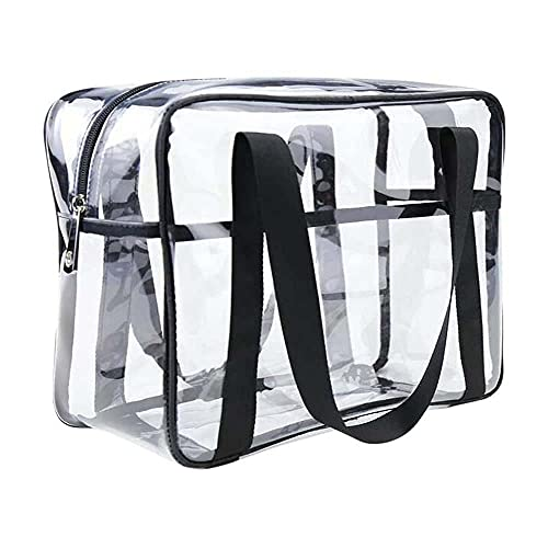 Clear Cosmetics Bag Transparent Tote Bag Thick PVC Zippered Toiletry...