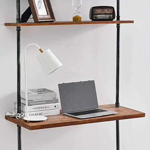 Industrial Laptop Desk Rustic Wall Ladder Desk with 2-Tier Shelf, Iron Pipe Computer Table Study Writing Table for Home, Bedroom and Office