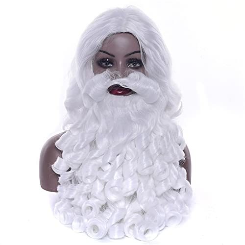 Navidad Santa Claus barba y peluca blanca rizada larga peluca de pelo sintético Cosplay traje regalo de Navidad juego de rol Hairpiece