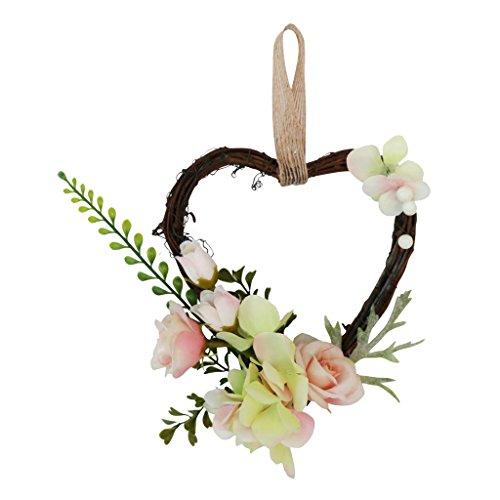 B Blesiya Mimbre de Flores Artificiales Corazón para Puerta Delantra Adorno de Casamiento Rota Rústica - champán, 18 x 14 x 6 cm