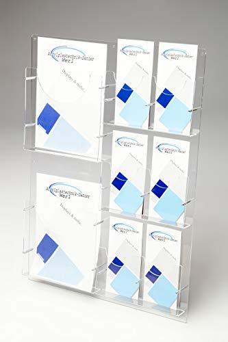 Prospektwandhalter 2 x DIN A4 und 6 x DIN LANG,Prospekt Wandhalter,Flyerhalter