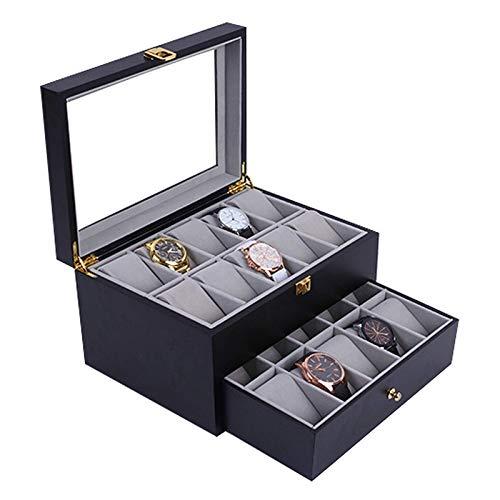 QCSMegy Organizador de Caja de Reloj de 20 Ranuras para Hombres, Vitrina de Reloj de Madera de Lujo con Tapa de Cristal Real, bisagra de Metal, Negro/Rojo