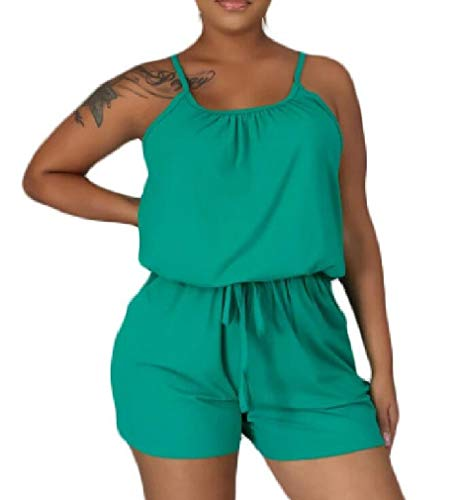 GRMO Women Drawstring Spaghetti Strap Solid Color Sexy Short Romper Jumpsuit One US XS