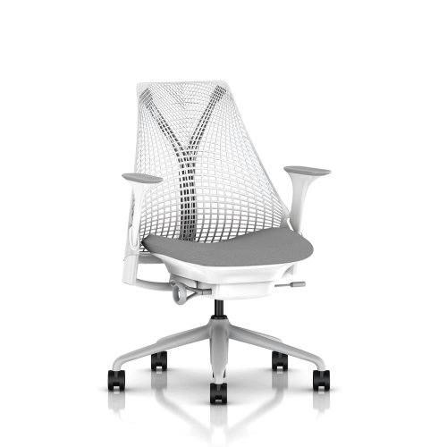 Big Sale SAYL Chair by Herman Miller - Official Retailer - Basic - White, Fog Arms & Shale Seat