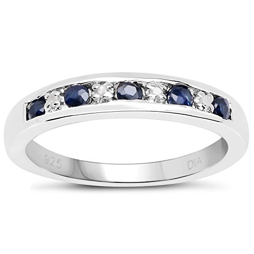The Diamond Ring Collection: 3mm wide Sterling Silver Channel set Dark Blue Sapphire & Diamond Eternity Ring (Size V)
