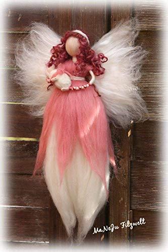 große Filzfigur Wiegenfee mit Baby*Mädchen*rosa*rose* gefilzt, Fee, Waldorf, Filzfee