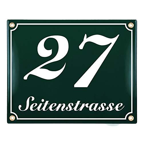 Sosenco Hausnummerschild Hausnummer mit Straßenname - 25x20 cm - Keramik Emaille - Wetterfest - Personalisiert (Grün)
