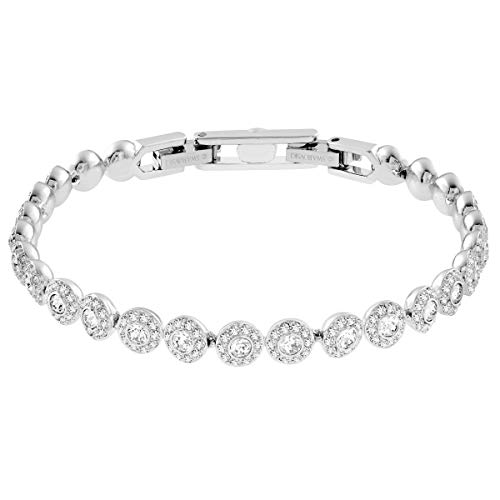 Swarovski Angelic Square Armband, Weißes und Rhodiniertes Damenarmband mit Funkelnden Klaren Swarovski Kristallen