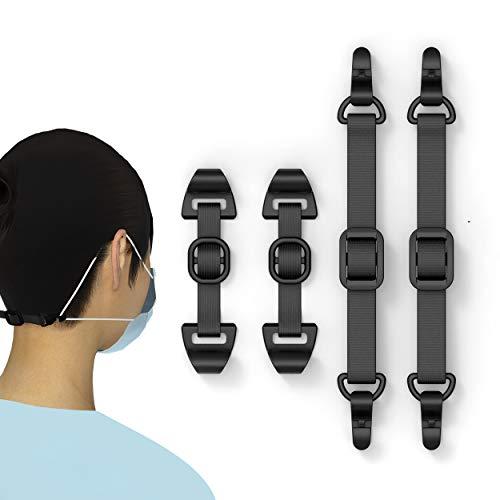 HX AURIZE Mask Comfortable Ear Strap Hook Adjustable 4 Pcs (Black)