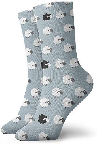 tyui7 Patrón de ovejas de dibujos animados en blanco y negro Calcetines de compresión antideslizantes Calcetines acogedores de 30 cm para hombres, mujeres y niños