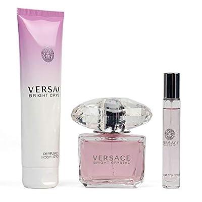 Bright Crystal By Versace 3 Pcs Set For Women's (3 Oz Eau De Toilette + 5 Oz Perfumed Body Lotion + 10 Ml Eau De Toilette)