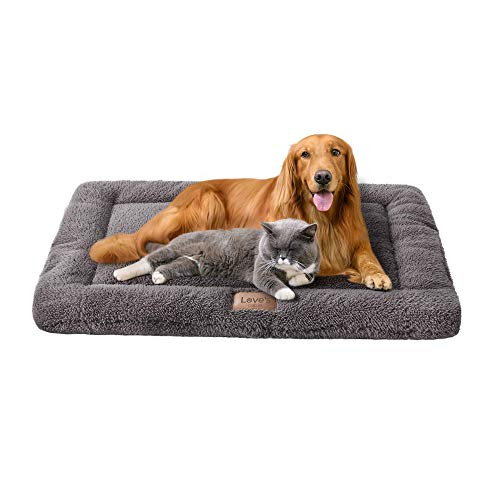 Love's cabin Self Warming Dog Crate Pad Grey - 41 Dog Beds for Large Dogs and Cats Pets Washable Dog Crate Mat & Dog Kennel Pad Bed Mats