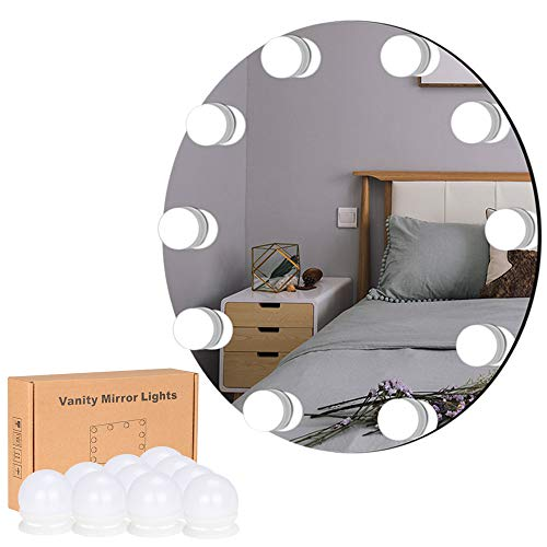Lirex Luces de Espejo de Tocador, Hollywood Espejo de Maquillaje con 10 Bombillas LED, 10 Modos de Brillo, Fuente de Alimentación USB, Espejo no Incluido - Actualizado con Premium 3M Sticker