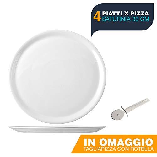 BuyStar SATURNIA Set 4 Piatti Napoli Pizza, 33 Cm, in Omaggio Tagliapizza con Rotella