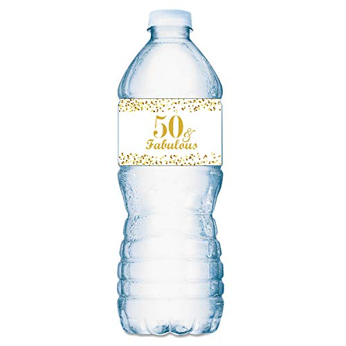 50 & Fabulous Water Bottle Labels; Set of 20 Waterproof Water Bottle Wrappers; Gold and White. Happy Birthday Labels