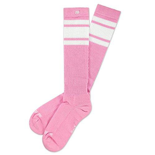Spirit of 76 Bubblegum Hi | Hohe Retro Socken mit Streifen Pink, Weiß gestreift | kniehoch | stylische Unisex Kniestrümpfe Größe S (35-38)