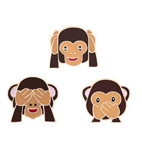 Coco Papaya Pin's Les 3 singes de la Sagesse. Broche dorée