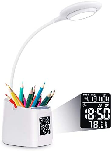LED Desk Lamp for Home Office Clock Lamp Desk Light with Pen Holder Phone Holder Battery Operated product image