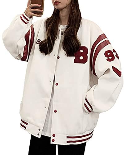 Minetom Damen Jacken College Cargo Jacke Baseball Sportjacke Sweatjacke Patchwork Hoodies Mantel Streetwear Z7 Beige S