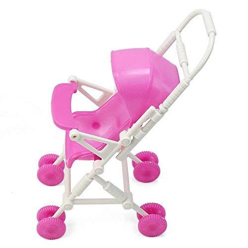 Nicedeal - Carrito de plástico para cochecito de bebé para muñecas Barbie, muebles de guardería, juguetes para bebés, juguetes para lubina, juguetes educativos de entretenimiento