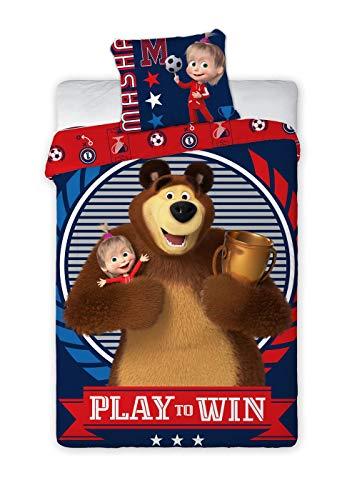 Unbekannt Masha and The Bear Mascha und der Bär Bettwäsche Set 140x200 cm + Kopfkissenbezug 70x90 cm 100% Baumwolle