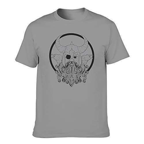 T-HGeschäft Camiseta deportiva para hombre, diseño vikingo, casco de Odin con dos cuervos, impresión mágica Gris oscuro. M