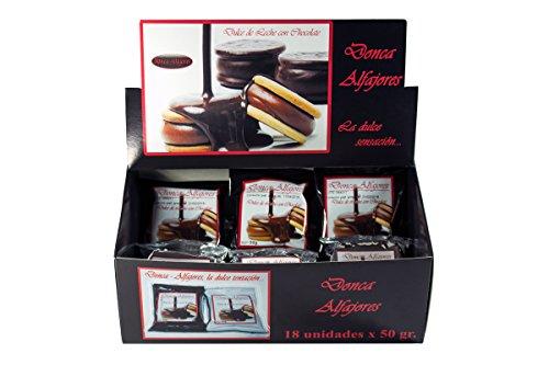 Alfajores Donca - Caja de 18 alfajores rellenos de Dulce de Leche. Surtido mixto con cobertura de Chocolate Negro y Blanco.